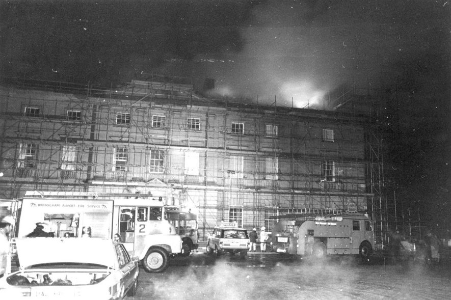 Fire at Packington Hall, Great Packington, showing fire engines and men.  1979 |  IMAGE LOCATION: (Warwickshire County Record Office)