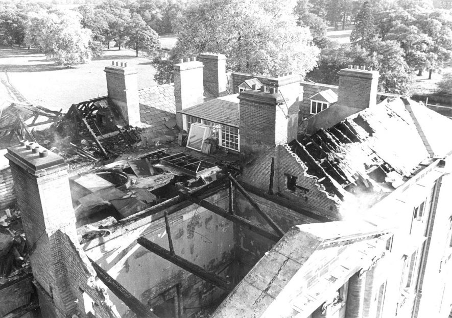 Fire damage to the roof of Packington Hall, Great Packington.  1979. |  IMAGE LOCATION: (Warwickshire County Record Office)
