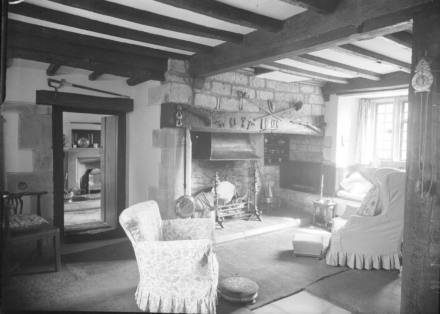 The Woodhouse, sitting room with fireplace, Fenny Compton.  1948 |  IMAGE LOCATION: (Warwickshire County Record Office)