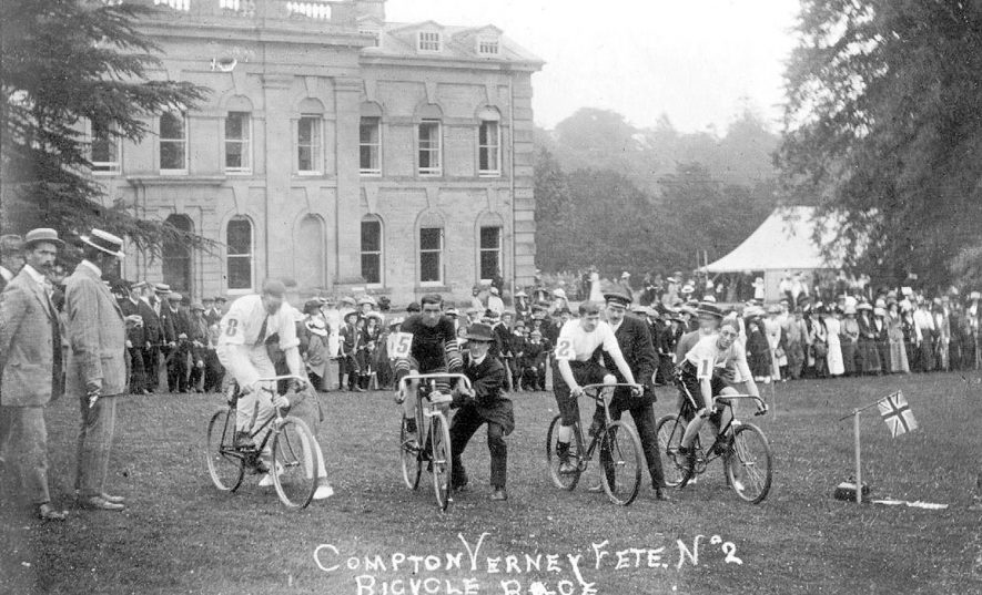 Bicycle race at Fete held outside house, Compton Verney.  1900s |  IMAGE LOCATION: (Warwickshire County Record Office)