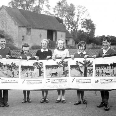 Gaydon.  School pupils with a collage
