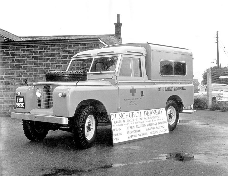 A Land Rover ambulance pictured in Grandborough, having been bought by the Dunchurch Deanery for St James Hospital, Basutoland.  1965 |  IMAGE LOCATION: (Warwickshire County Record Office)