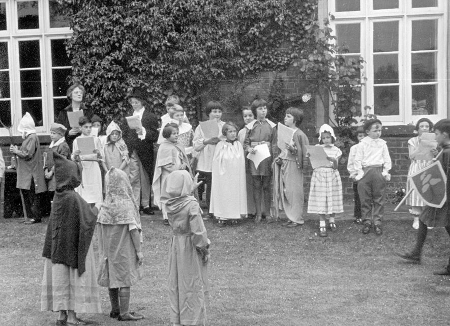 A pageant being performed in the grounds of the old vicarage, Grandborough.  1962