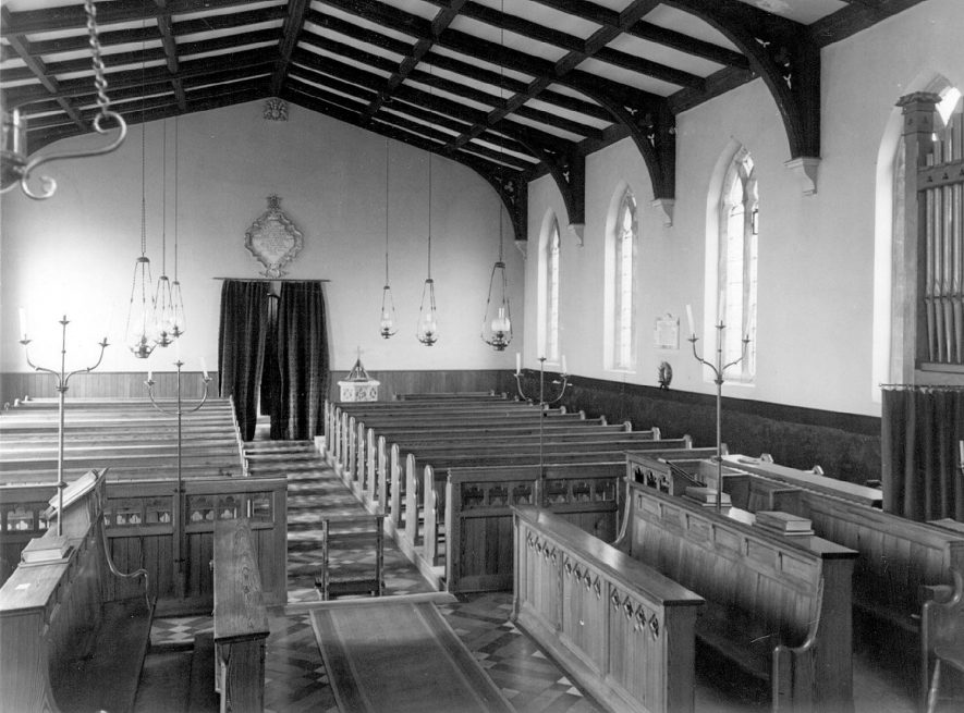 Great Wolford Parish Church, interior view of nave.  1960s |  IMAGE LOCATION: (Warwickshire County Record Office)