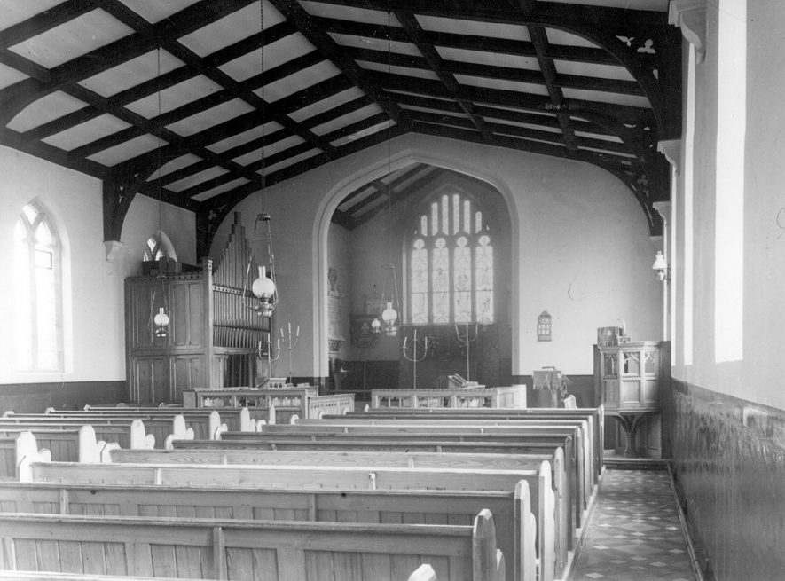 Great Wolford Parish Church, interior view of nave, looking east.  1960s |  IMAGE LOCATION: (Warwickshire County Record Office)