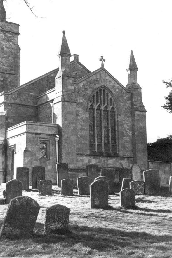 Great Wolford parish church, east end and part of churchyard.  c.1973 |  IMAGE LOCATION: (Warwickshire County Record Office) IMAGE DATE: (c.1973)
