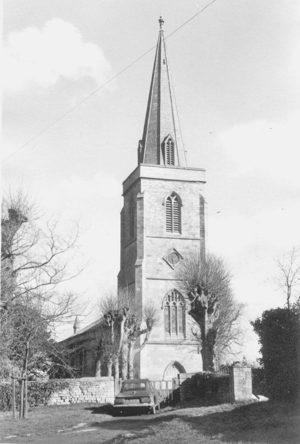 Great Wolford parish church tower.  c.1973 |  IMAGE LOCATION: (Warwickshire County Record Office) IMAGE DATE: (c.1973)