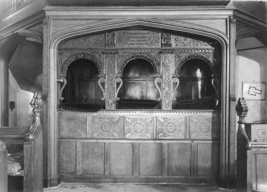 Part of the interior of Grendon parish church.  1900s |  IMAGE LOCATION: (Warwickshire County Record Office)