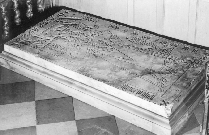 Grave slab inside Grendon parish church.  1900s |  IMAGE LOCATION: (Warwickshire County Record Office)