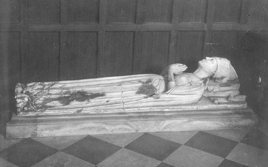 Grave slab with effigy inside Grendon parish church.  1900s. |  IMAGE LOCATION: (Warwickshire County Record Office)