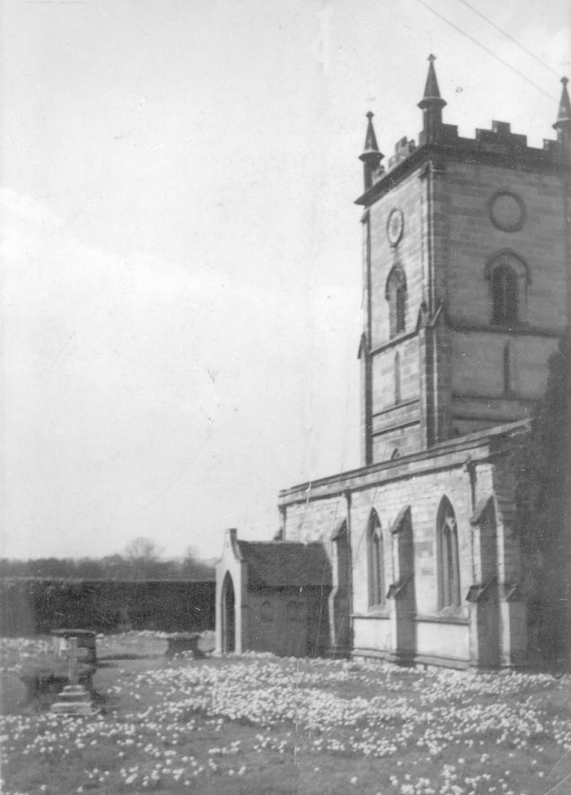Grendon parish church tower and porch.  1900s |  IMAGE LOCATION: (Warwickshire County Record Office)