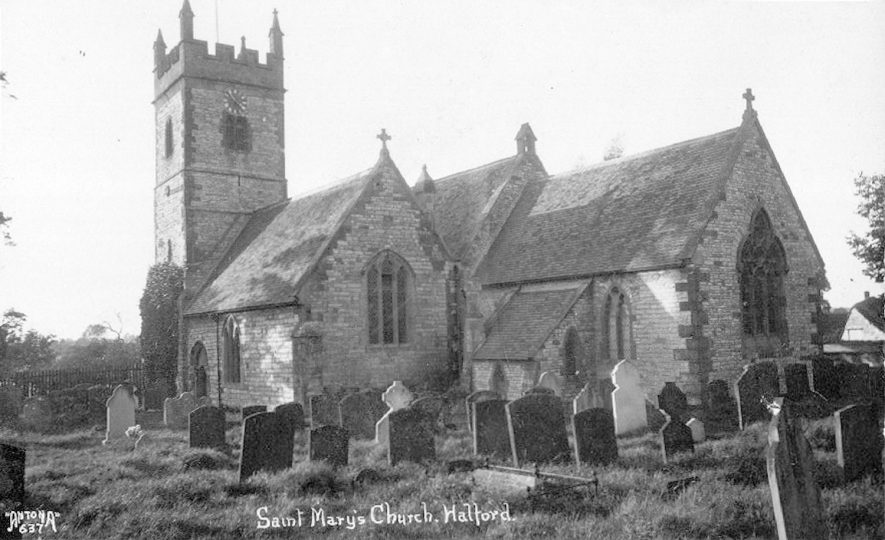 St Mary's church and churchyard, Halford.  1930s |  IMAGE LOCATION: (Warwickshire County Record Office)