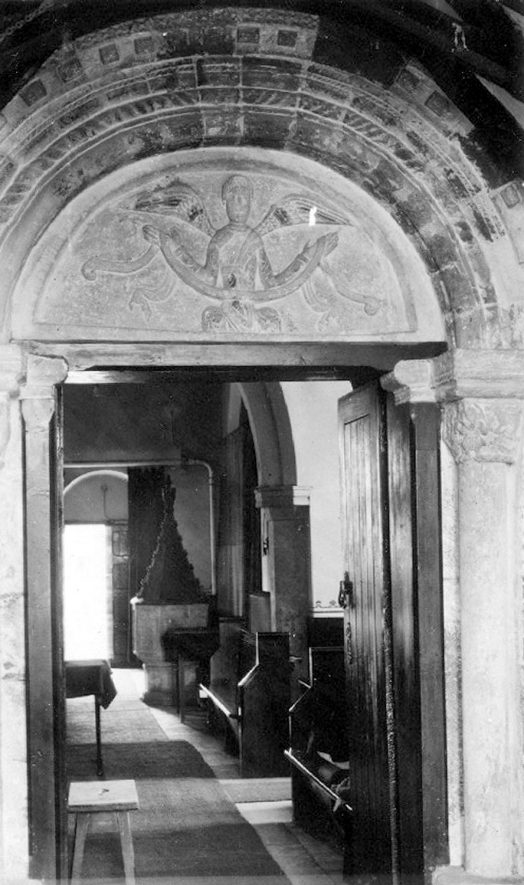 The north doorway of St Mary's church, Halford.  1942 |  IMAGE LOCATION: (Warwickshire County Record Office)