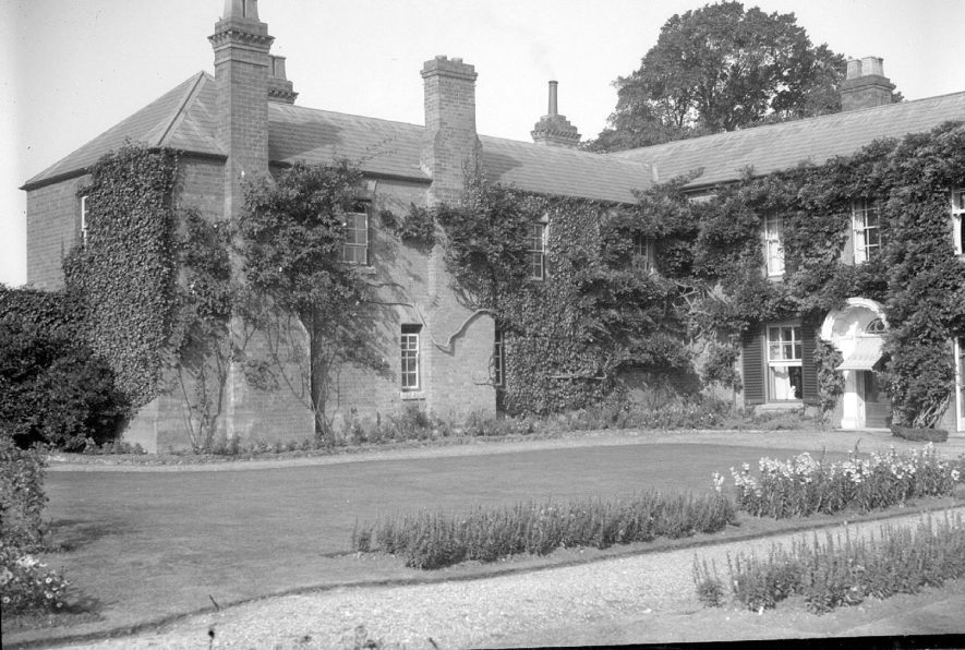 Harbury Hall and garden forecourt, Harbury.  September 1928 |  IMAGE LOCATION: (Warwickshire County Record Office)