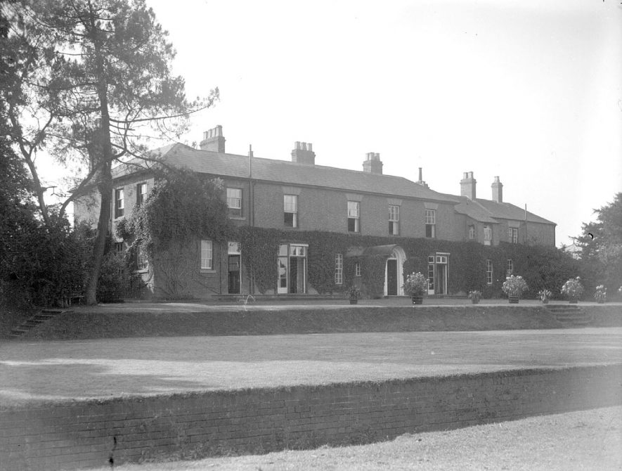 Rear of Harbury Hall and gardens, Harbury.  September 1928 |  IMAGE LOCATION: (Warwickshire County Record Office)
