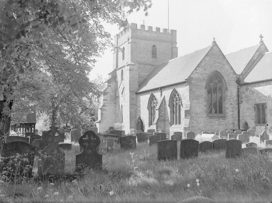 All Saint's church, churchyard and lych gate, Harbury.  May 31st 1951 |  IMAGE LOCATION: (Warwickshire County Record Office)