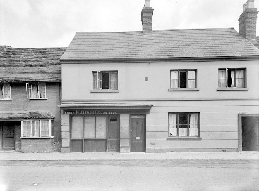 The Butchers shop, probably Harris', Henley in Arden.  1944 [A relative confirms the shop was in the ownership of N.B.Harris(Norman Beckwith Harris)83 High Street] |  IMAGE LOCATION: (Warwickshire County Record Office)