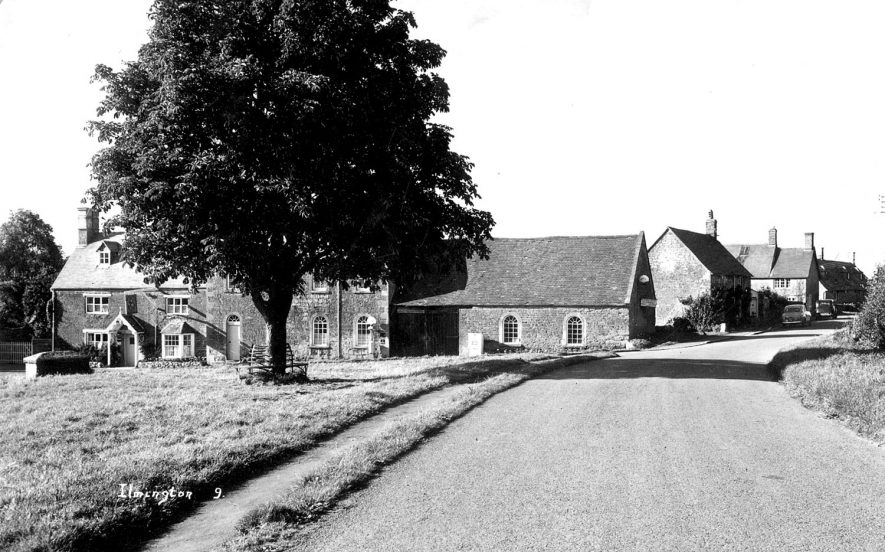 A view of the village and green showing the Howard Arms Inn, Ilmington.  1959 |  IMAGE LOCATION: (Warwickshire County Record Office)