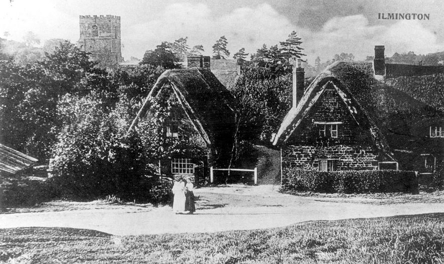 Clifford's Orchard (left) and Apple Tree Cottage (right), Ilmington.  1912  [This picture was taken from approximately OS Ref. 421025, 243339, facing north, towards the church.] |  IMAGE LOCATION: (Warwickshire County Record Office)
