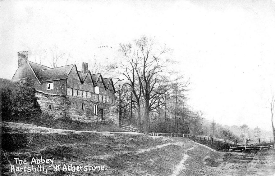 The Abbey, Hartshill.  Picture taken from a moat in front of the house.  1908 |  IMAGE LOCATION: (Warwickshire County Record Office)