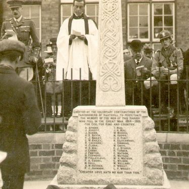 Hartshill.  Unveiling of War Memorial
