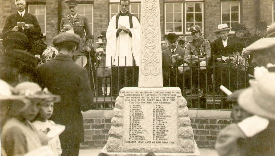 Unveiling of Hartshill War memorial.  1921 |  IMAGE LOCATION: (Warwickshire County Record Office)