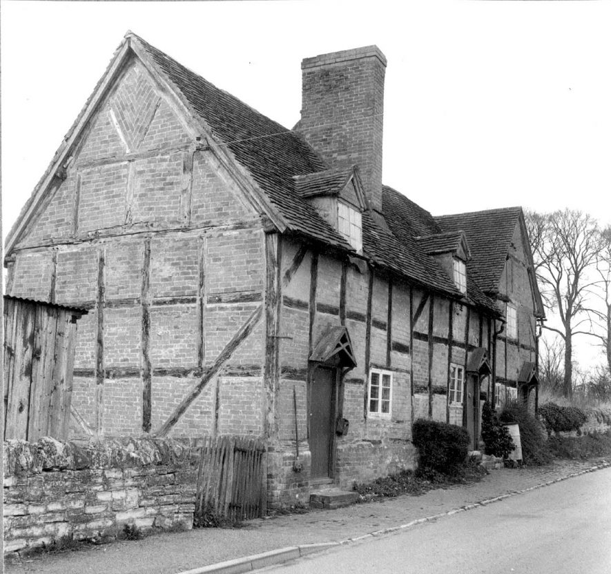 Half timbered cottages, Haselor.  1966 |  IMAGE LOCATION: (Warwickshire County Record Office)