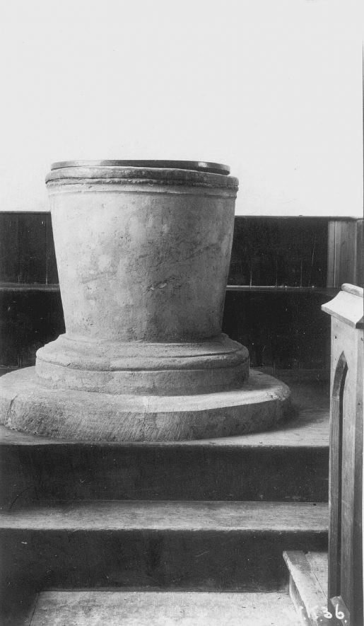 Church Font, Haselor.  1938 |  IMAGE LOCATION: (Warwickshire County Record Office)