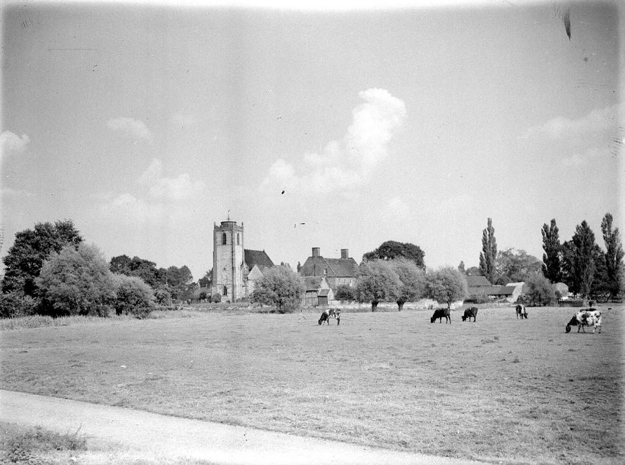 Long Itchington. Holy Trinity Church, seen across the fields. November 28th 1956 |  IMAGE LOCATION: (Warwickshire County Record Office)