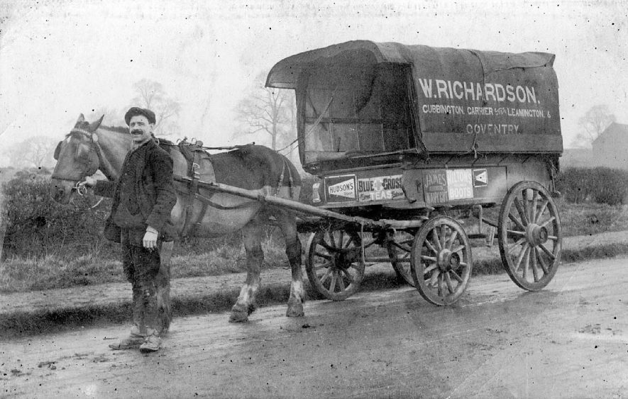 W. Richardson, carrier of Cubbington with his horse and cart.  1930 |  IMAGE LOCATION: (Warwickshire County Record Office)