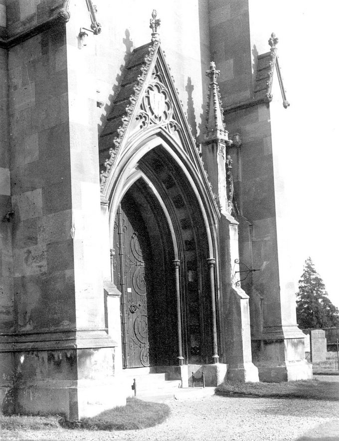 St Peter's church door, Hampton Lucy.  1952 |  IMAGE LOCATION: (Warwickshire County Record Office)