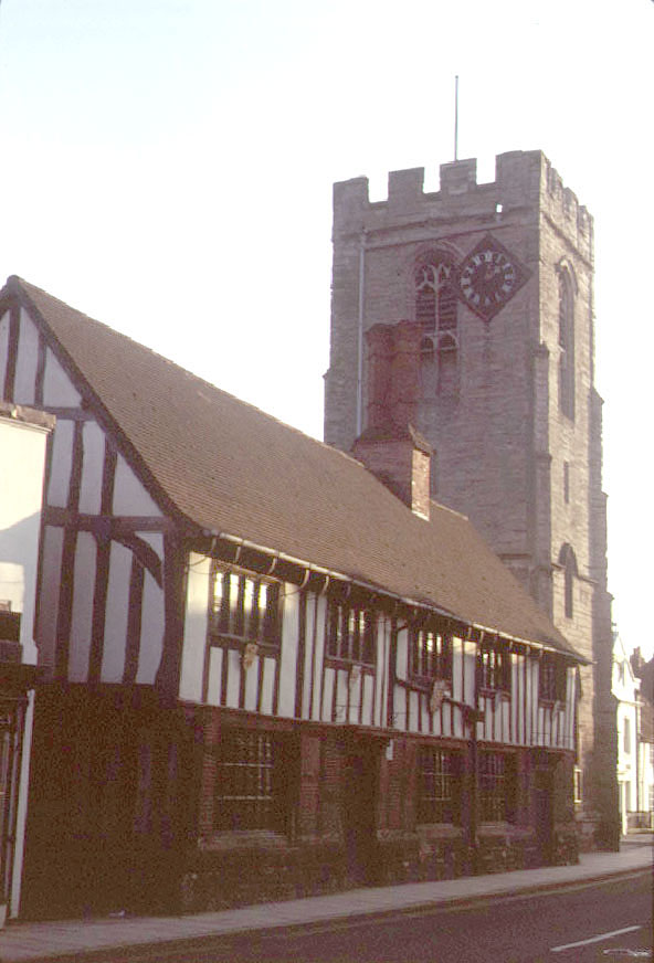 The Church of St John the Baptist and the Guildhall, Henley in Arden.  1973 |  IMAGE LOCATION: (Warwickshire County Record Office)