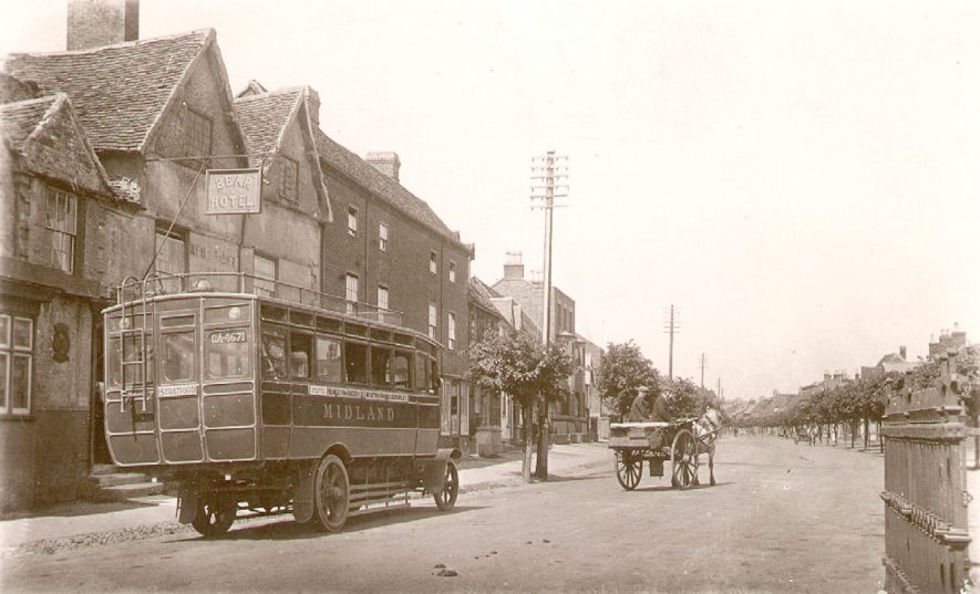 High Street, Henley in Arden, showing an early omnibus.  1910s |  IMAGE LOCATION: (Warwickshire County Record Office)