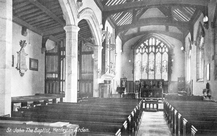 Interior of the church of St John the Baptist, Henley in Arden.  1910s |  IMAGE LOCATION: (Warwickshire County Record Office)