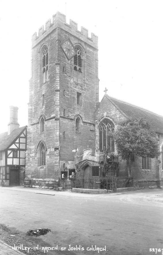 Exterior of the church of St John the Baptist, Henley in Arden.  1910s |  IMAGE LOCATION: (Warwickshire County Record Office)