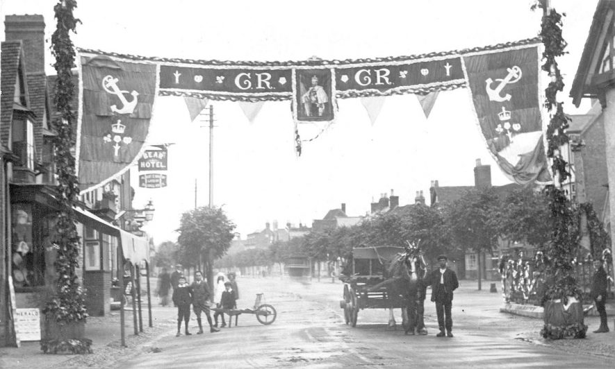 Street decorations for coronation of King George V, Henley in Arden.  1911 |  IMAGE LOCATION: (Warwickshire County Record Office)