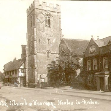 Henley in Arden.  Church and vicarage.