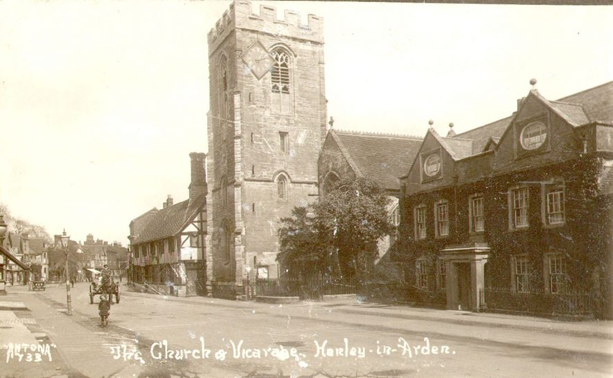 Henley in Arden church and vicarage.  1920 |  IMAGE LOCATION: (Warwickshire County Record Office)
