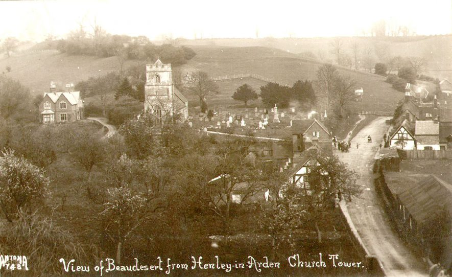 View from Henley church tower, Beaudesert.  1920s |  IMAGE LOCATION: (Warwickshire County Record Office)
