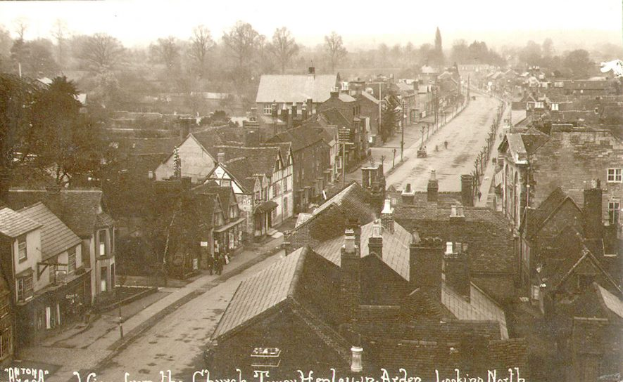 View of the North end of the High Street from the church tower, Beaudesert.  1920s |  IMAGE LOCATION: (Warwickshire County Record Office)