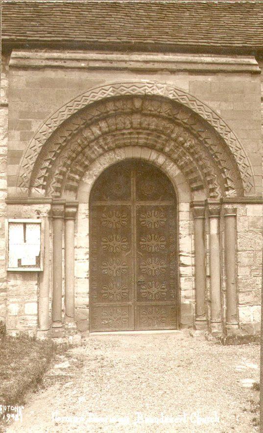 Beaudesert Church. Norman doorway.  1920s |  IMAGE LOCATION: (Warwickshire County Record Office)