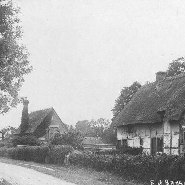 Dorsington.  Thatched, timber framed cottages