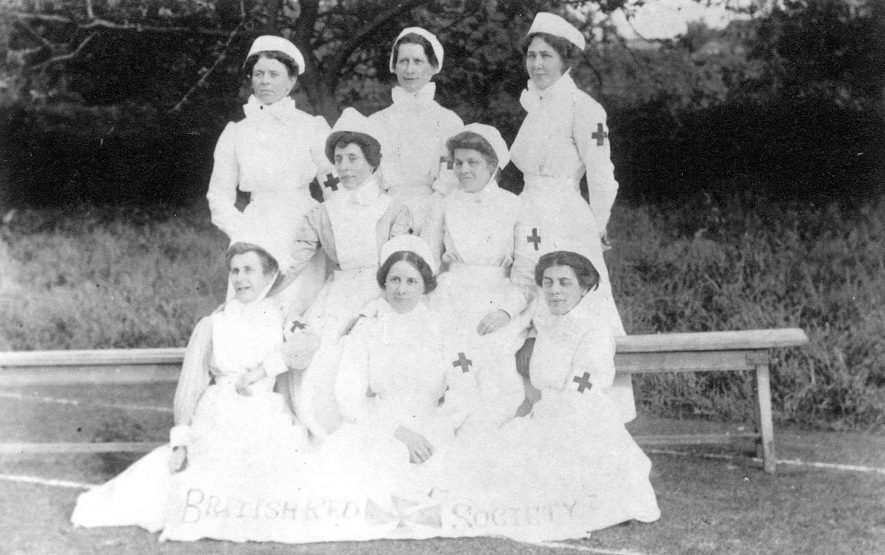 Nurses from VAD Hospital, Henley in Arden, (the Public Hall and Institute). Photograph from album of Grace Washington Richards.  1914-18 |  IMAGE LOCATION: (Warwickshire County Record Office) PEOPLE IN PHOTO: Richards, Grace Washington