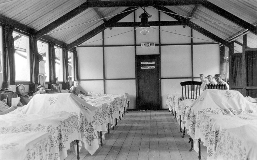 Henley in Arden Red Cross Hospital ward.  1915 |  IMAGE LOCATION: (Warwickshire County Record Office)
