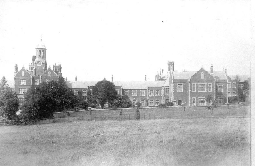 Exterior view of the asylum buildings (Central Hospital) at Hatton.  1890s    IMAGE LOCATION: (Warwickshire County Record Office)