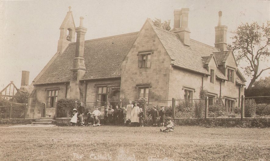 Group of pupils outside the catholic school, Ilmington.  1910s |  IMAGE LOCATION: (Warwickshire County Record Office)