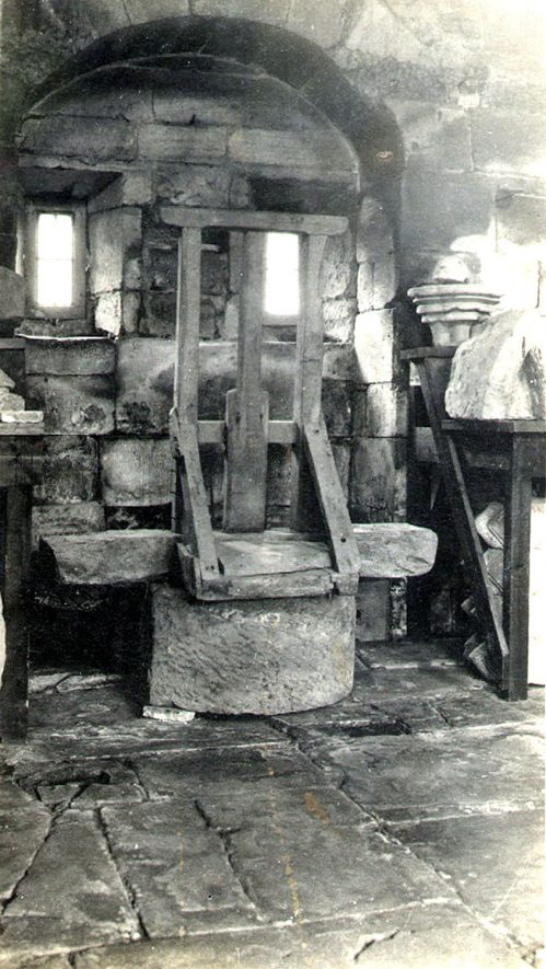 Kenilworth Abbey Museum ducking stool.  1937 |  IMAGE LOCATION: (Warwickshire County Record Office)