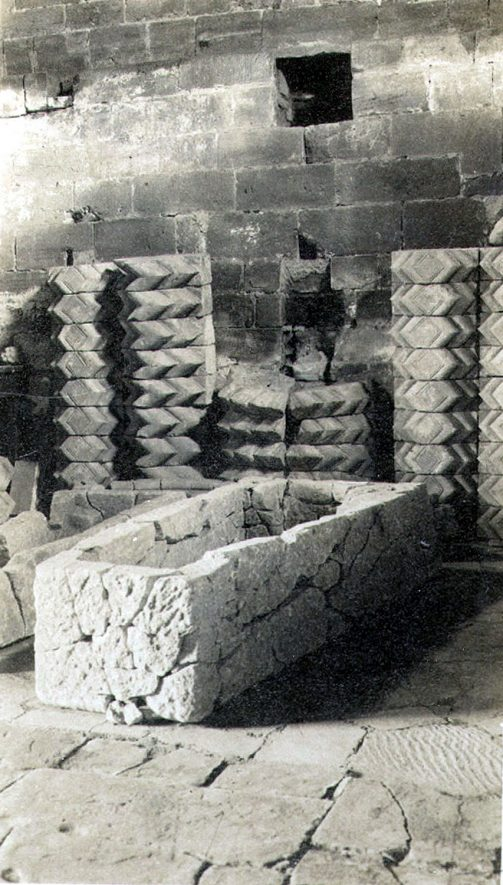 Geoffrey de Clinton's stone coffin at Kenilworth Abbey Museum.  1937 |  IMAGE LOCATION: (Warwickshire County Record Office)