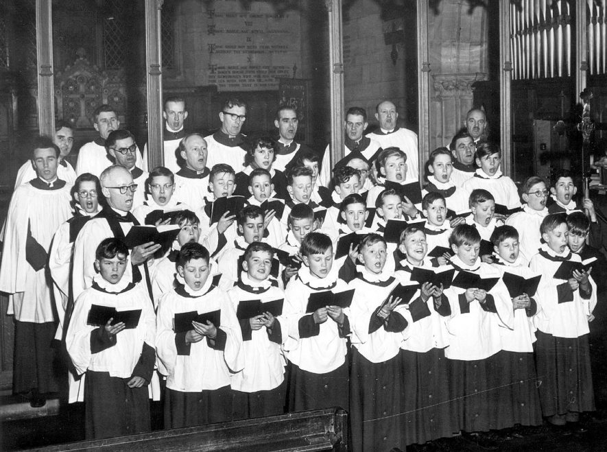 A church choir at St John's Church Kenilworth.  1960s |  IMAGE LOCATION: (Warwickshire County Record Office)