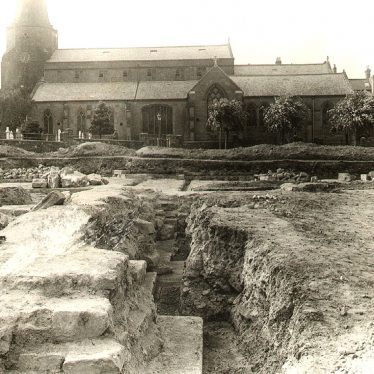 Kenilworth.  St Nicholas Church and excavations of Abbey